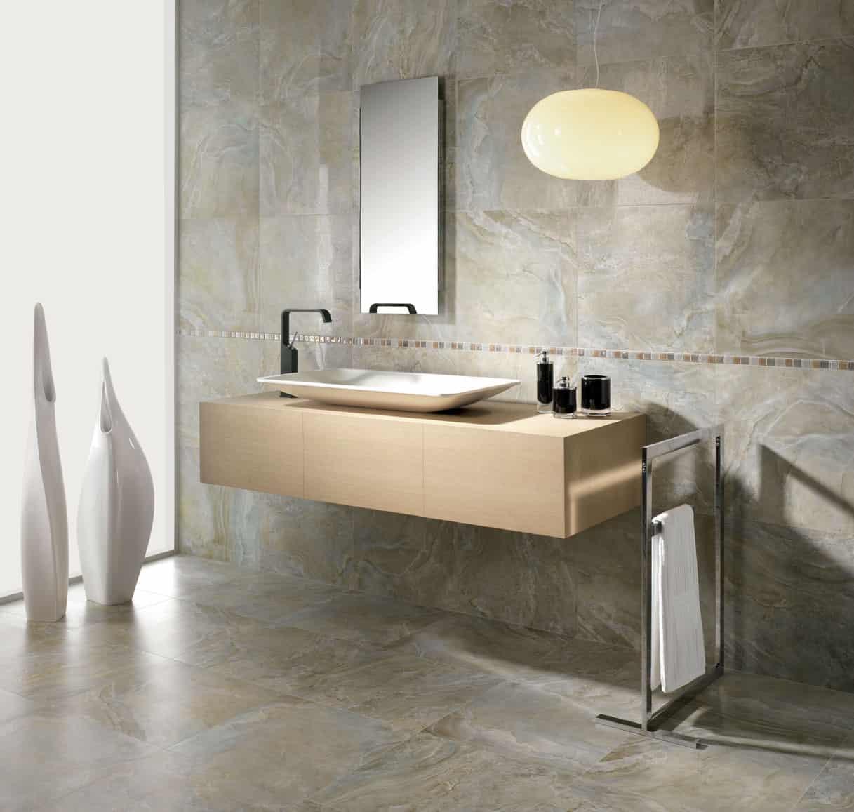 Bathroom Tile Floor And Wall Ideas Part - 17: Marble Tile Bathroom Decoration