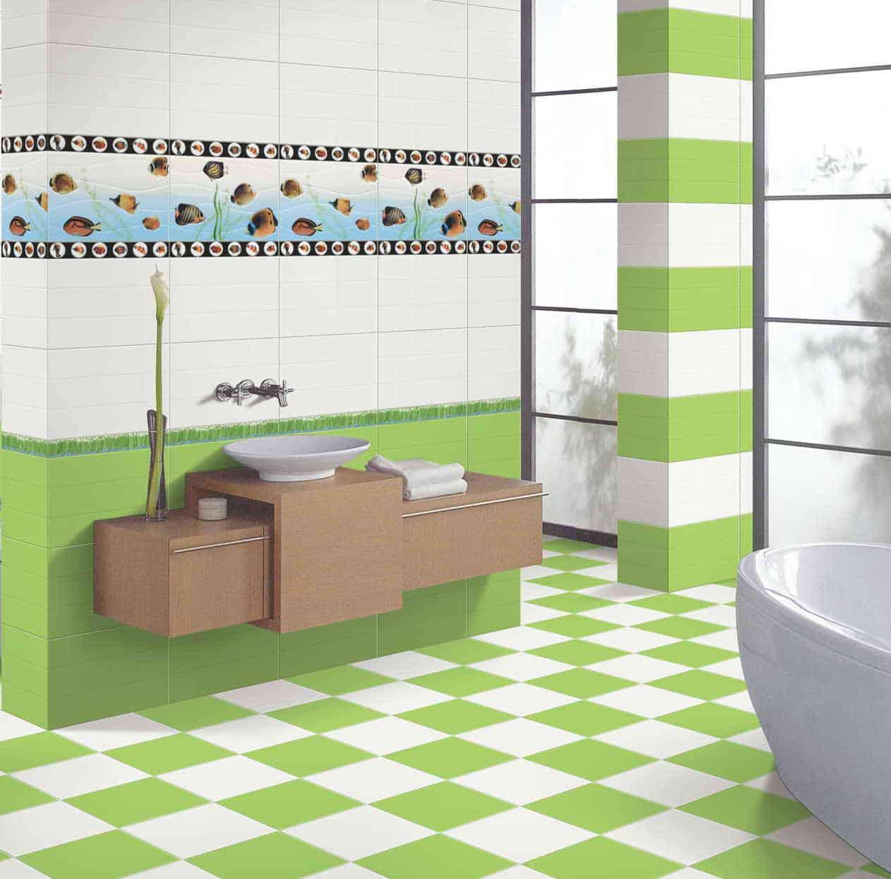 Bathroom with green walls