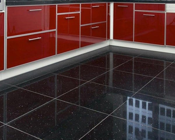 Black Sparkle Floor Tiles Decoration