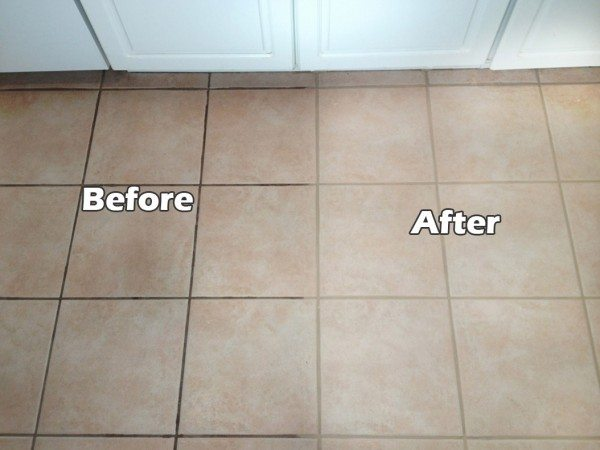 Cleaning Tile Grout Example